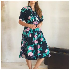 Vintage Floral Print Housedress